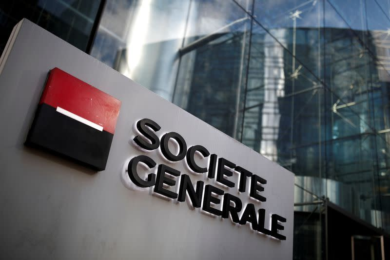 FILE PHOTO: The logo of Societe Generale is seen on the headquarters at the financial and business district of La Defense near Paris