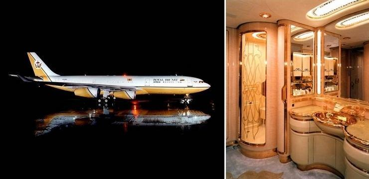<strong>Gold, gold and more gold</strong> When you're someone like the Sultan of Brunei, people expect your lifestyle to match your considerable wealth. Well, when it comes to private jets he certainly delivers. The Sultan has a fleet of aircraft, but his A340 is the most extravagant. It features solid gold washbasins, mirrored ceilings and rich wood grain fittings. He reportedly spent $100 million purchasing the plane, and $120 million refurbishing it. Quite an investment!