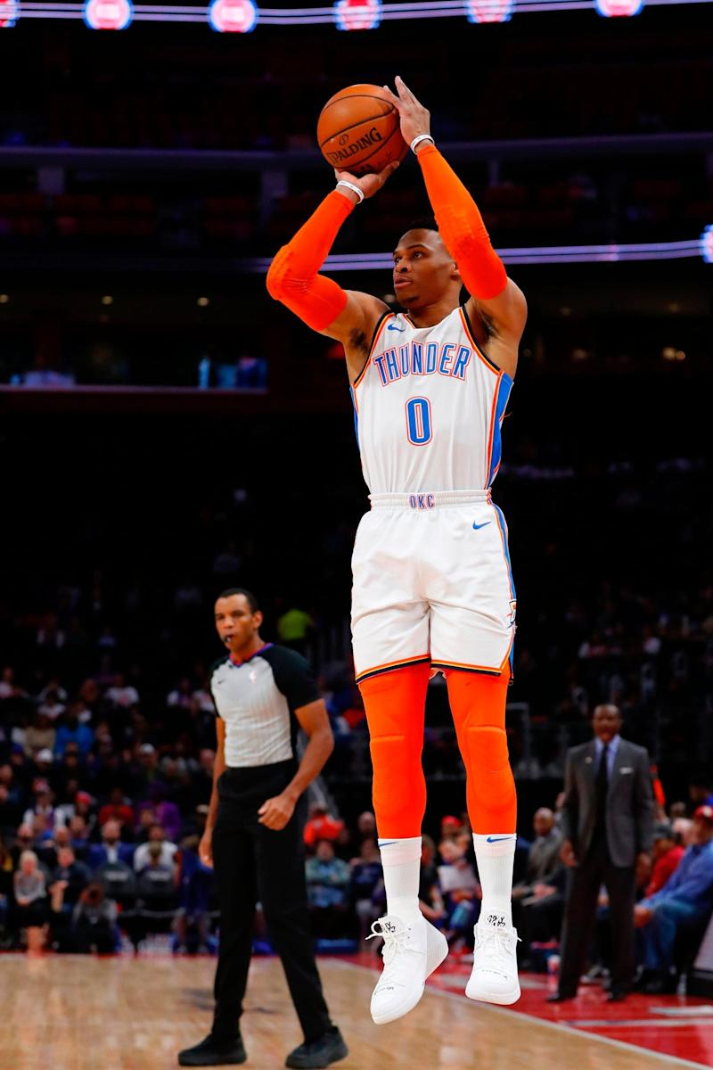 Oklahoma City Thunder guard Russell Westbrook (0) shoots in the first half against the Detroit Pistons at Little Caesars Arena.