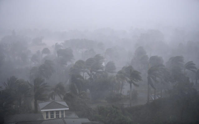 <p><strong>Naples</strong><br>Palm trees blow in the wind as Hurricane Irma passes through Naples, Fla., Sept. 10, 2017. (Photo: David Goldman/AP) </p>