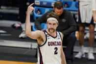Gonzaga forward Drew Timme (2) celebrates in the second half of a second-round game iagainst Oklahoma n the NCAA men's college basketball tournament at Hinkle Fieldhouse in Indianapolis, Monday, March 22, 2021. (AP Photo/Michael Conroy)