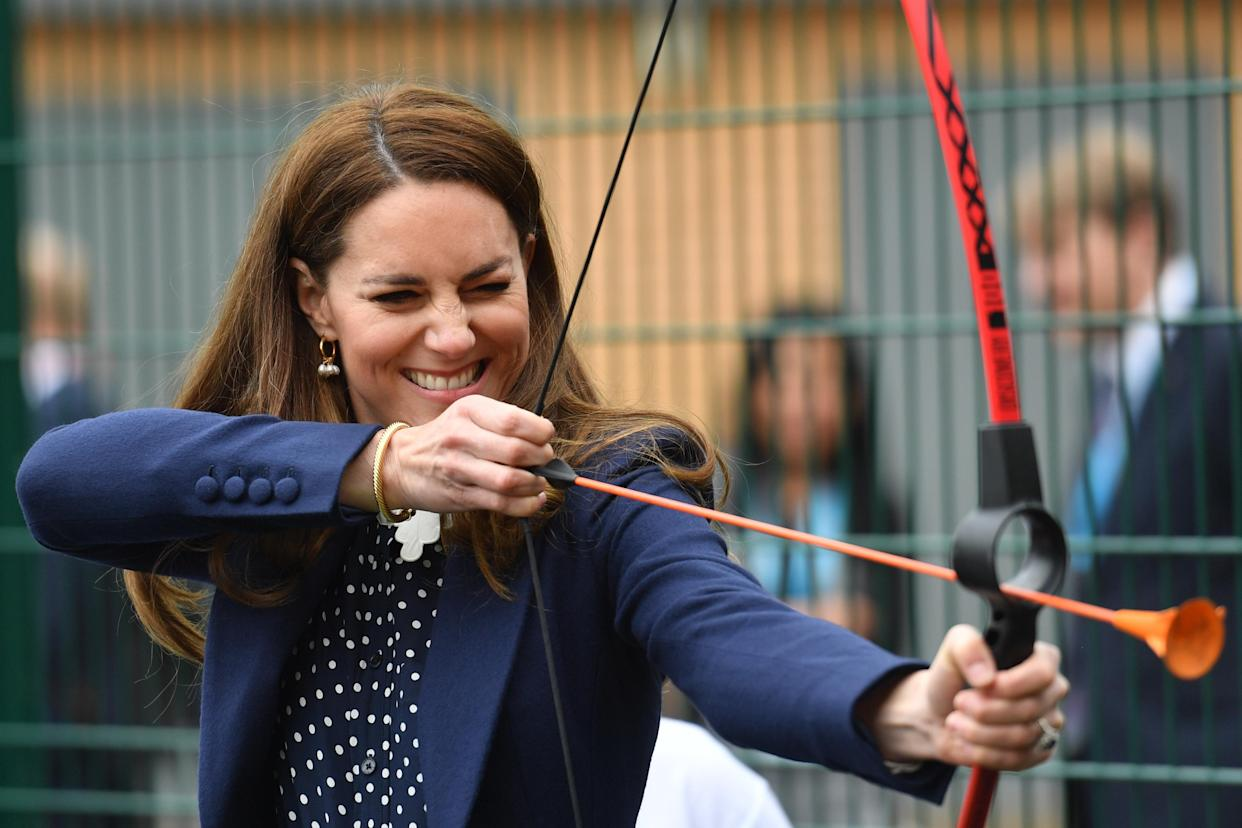 The Duchess of Cambridge at a an archery session during a visit to The Way Youth Zone in Wolverhampton, West Midlands. Picture date: Thursday May 13, 2021.