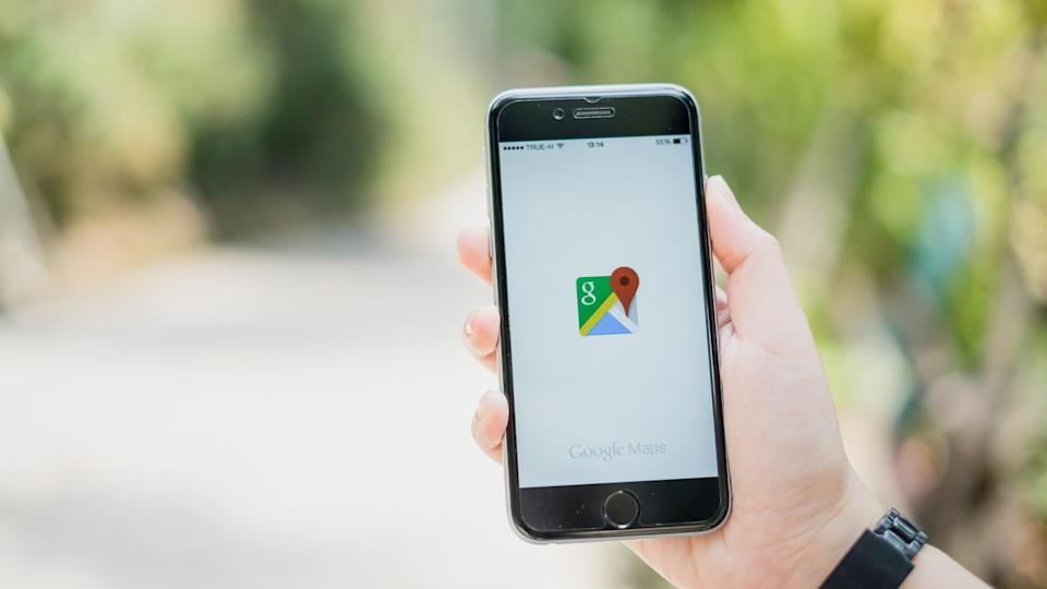 person using Google Maps on smartphone