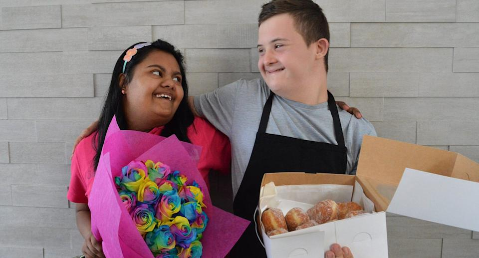 Gayana Wijewickrema, Co-Founder of GG's Flowers and Hampers pictured with Anthony Vrkic, Co-Founder of Krofne Donuts, another notable social enterprise in Canberra. Photo: Supplied