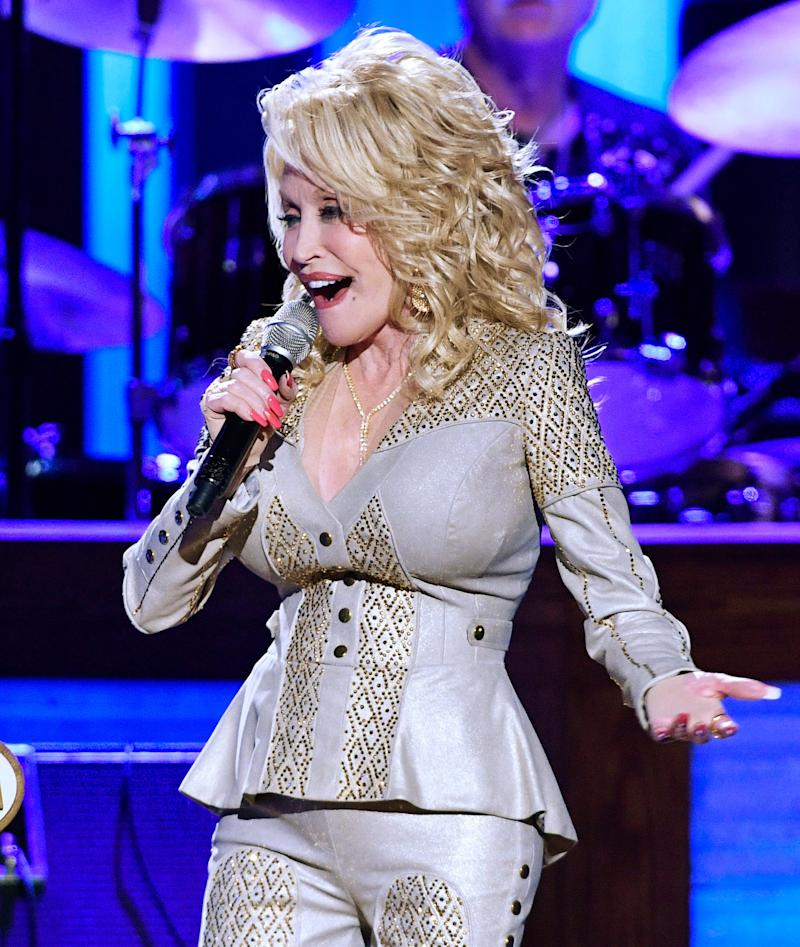 Dolly Parton performs at her 50th Opry Member Anniversary at the Grand Ole Opry Saturday, Oct. 12, 2019, in Nashville, Tenn.