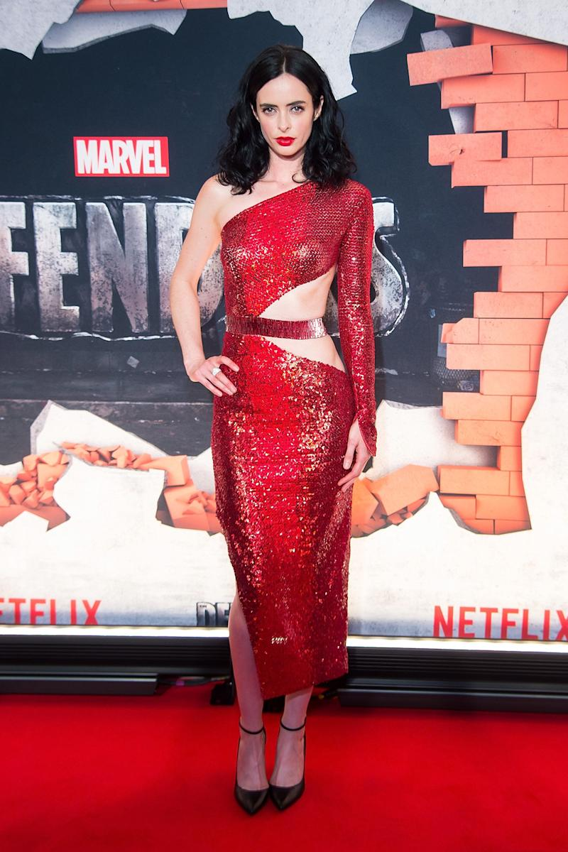 """In a Julien Macdonald dress at the """"Marvel's The Defenders"""" New York premiere at Tribeca Performing Arts Center on July 31, 2017, in New York City."""