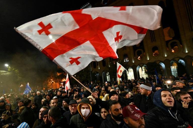 Opposition supporters have staged a series of mass rallies in the capital Tbilisi after the ruling party voteddown legislation to hold next year's elections under a new proportional voting system