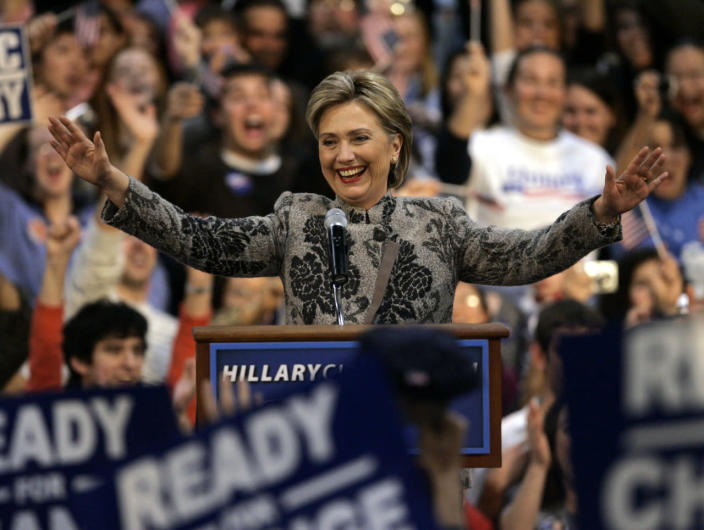 <p>Democratic presidential hopeful Sen. Hillary Clinton takes applause at her Democratic primary election night victory rally in Manchester, N.H., on Jan. 8, 2008. (Photo: Elise Amendola/AP)</p>