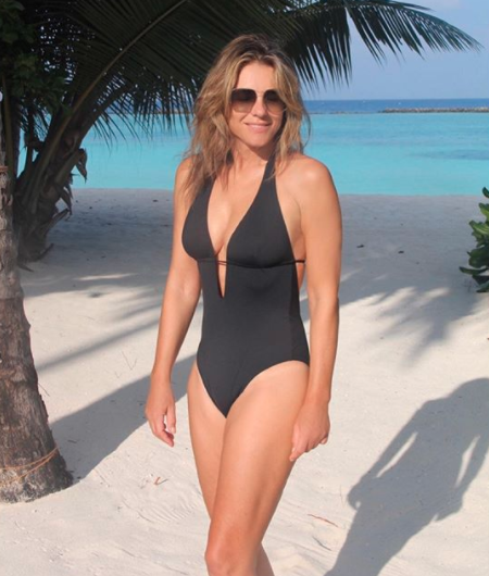 Elizabeth Hurley poses black swimsuit Beach collection