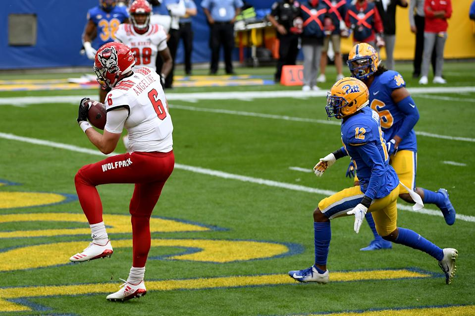 North Carolina State TE Cary Angeline (#6) is a quality receiver with terrific length. (Photo by Justin Berl/Getty Images)