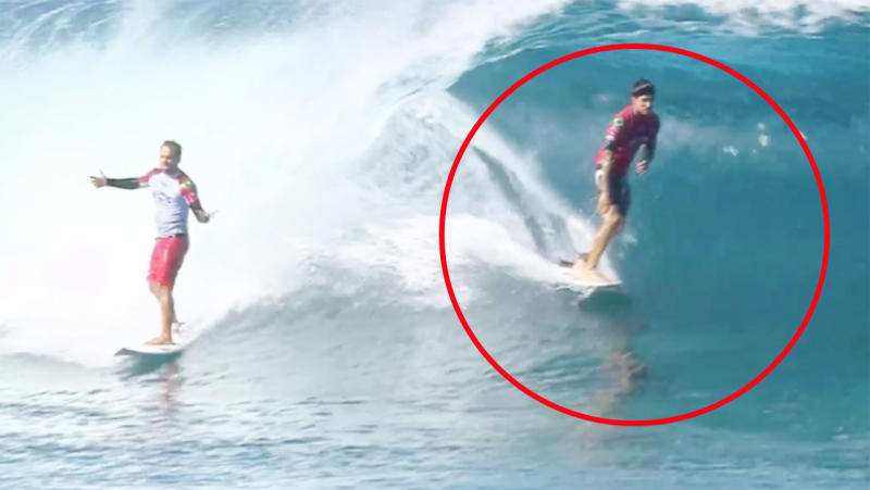 Gabriel Medina, pictured here intentionally sabotaging Italo Ferreira at the Pipe Masters.