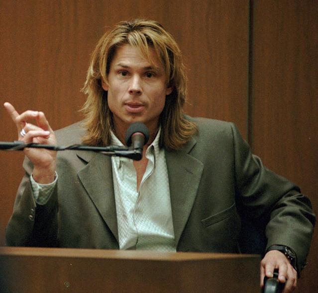 "<p>Witness Brian ""Kato"" Kaelin testifies under direct examination during the O.J. Simpson double-murder trial at the Los Angeles Criminal Courts Building in Calif., Tuesday, March 21, 1995. (Photo: John McCoy, Pool/AP) </p>"