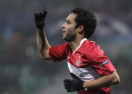 Spartak Moscow's Ibson celebrates after scoring against Zilina during their Champions League soccer match in Zilina