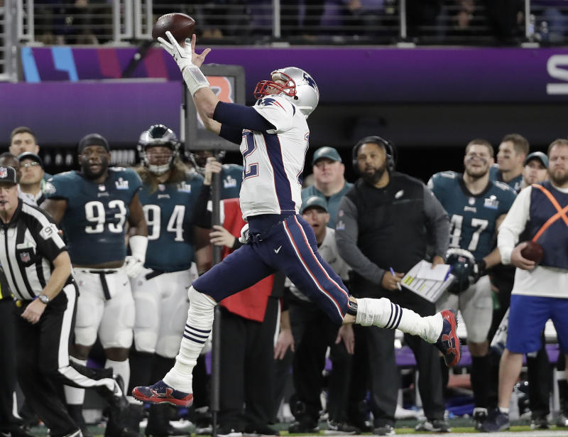 Making jokes: New England Patriots quarterback Tom Brady joked about this near-miss catch from Super Bowl LII on Twitter. (AP)