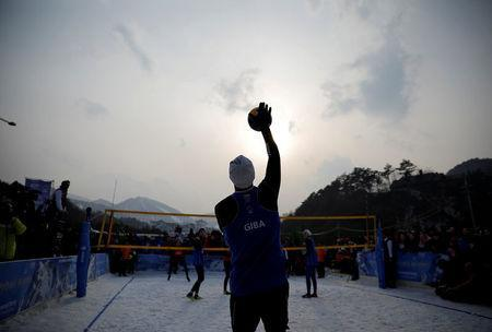 Pyeongchang 2018 Winter Olympics - Pyeongchang - South Korea – February 14, 2018. Giba Godoy of Brazil plays during an event promoting the Snow Volleyball hosted by the International Volleyball Federation (FIVB) and European Volleyball Confederation (CEV). REUTERS/Kim Hong-Ji