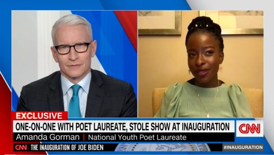 <p>CNN's Anderson Cooper left speechless in interview with inauguration poet</p> (CNN)