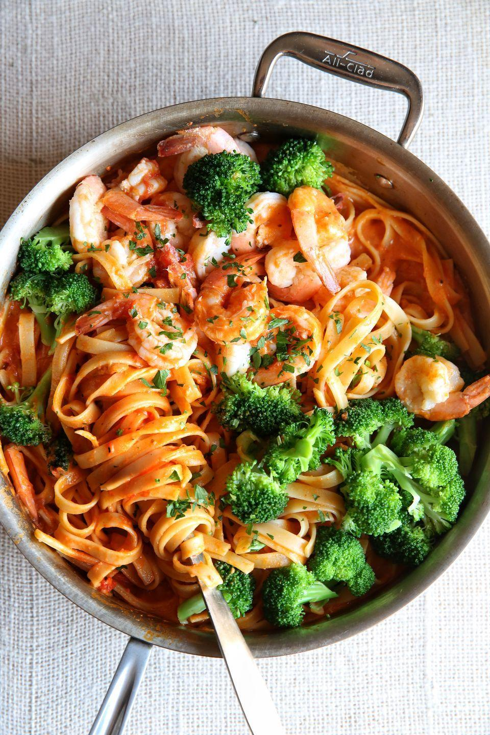 "<p>Shrimp pasta is a no-brainer weeknight win.</p><p>Get the recipe from <a href=""https://www.delish.com/cooking/recipe-ideas/recipes/a49769/shrimp-broccoli-fettuccine-recipe/"" rel=""nofollow noopener"" target=""_blank"" data-ylk=""slk:Delish"" class=""link rapid-noclick-resp"">Delish</a>.<br></p>"