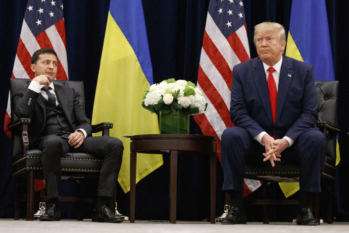 President Trump with Ukrainian President Volodymyr Zelensky during the United Nations General Assembly, Sept. 25, 2019. (Photo: Evan Vucci/AP)