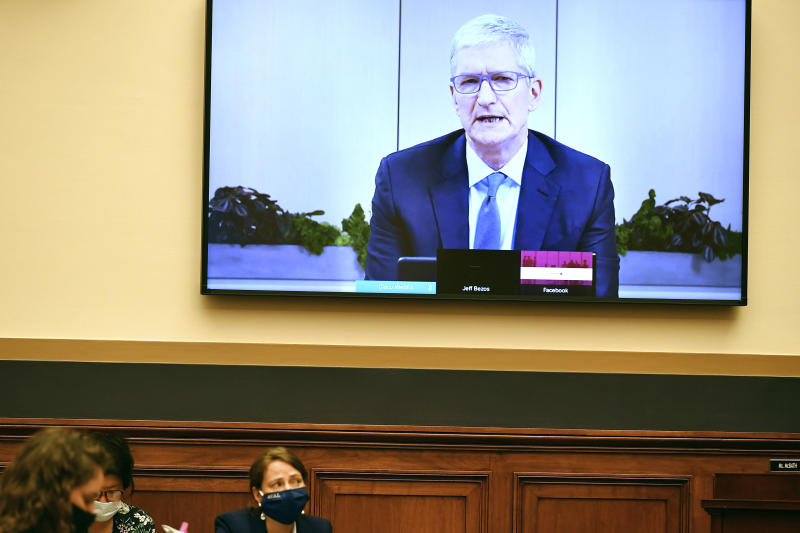 Apple CEO Tim Cook testifies remotely during a House Judiciary subcommittee on antitrust on Capitol Hill on Wednesday, July 29, 2020, in Washington. (Mandel Ngan/Pool via AP)