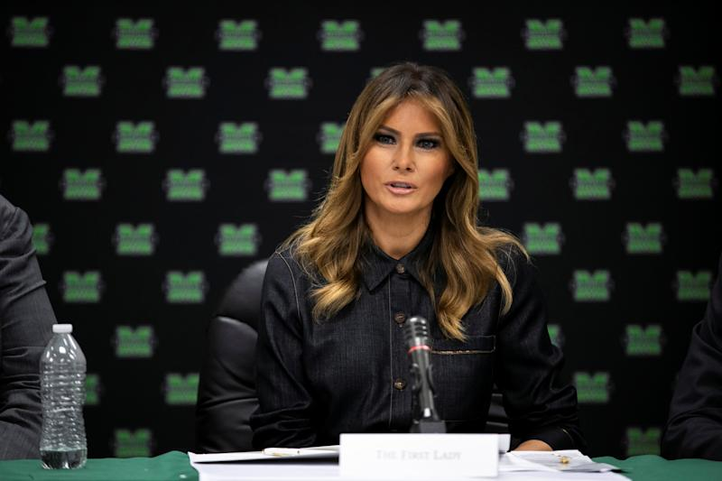 U.S. first lady Melania Trump speaks during a roundtable discussion with local and state leaders at Cabell-Huntington Health Department in Huntington, W.V., U.S., July 8, 2019. REUTERS/Al Drago