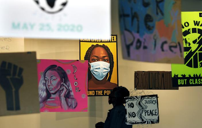 """SoLA Contemporary did an open call for signs from Black Lives Matter protests for its new exhibition, which also features original art. <span class=""""copyright"""">(Christina House / Los Angeles Times)</span>"""
