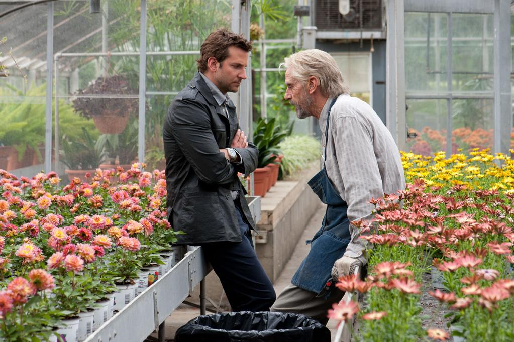 """<b>Working With A Great</b><br><br>Cooper has described """"<a href=""""http://movies.yahoo.com/movie/the-words/"""">The Words</a>"""" as a thriller. Jeremy Irons has noted it is a story within a story. And those stories intersect when Irons (The Old Man), who plays the real writer of the stolen manuscript, meets up with Cooper (Rory). Both <a href=""""http://insidemovies.ew.com/2012/08/17/the-words-bradley-cooper-jeremy-irons/"""">talked to EW</a> earlier this year: """"I was worried that this scene would be boring to watch and boring to film... Jeremy made it so easy. Working with great actors like Jeremy is just like putting on a warm coat or something. Everything's going to be okay. Just seeing all the choices that he was making, it was perfect,"""" Cooper said. Irons added, """"I thought Bradley would be an interesting man to work with... He's going through his sort of trajectorial success pattern, and he's going up pretty fast, and people deal with that in different ways. He deals with it wonderfully — just sort of shrugs it off."""""""
