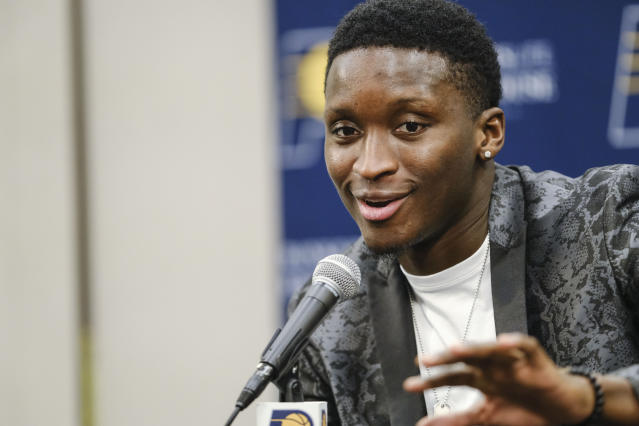 Indiana Pacers guard Victor Oladipo answers questions during a news conference before an NBA basketball game in Indianapolis, Wednesday, Jan. 8, 2020. Oladipo plans to return to play in a game on Jan. 29, 2020 against the Miami Heat, after a early year long absence due to injury. (AP Photo/AJ Mast)