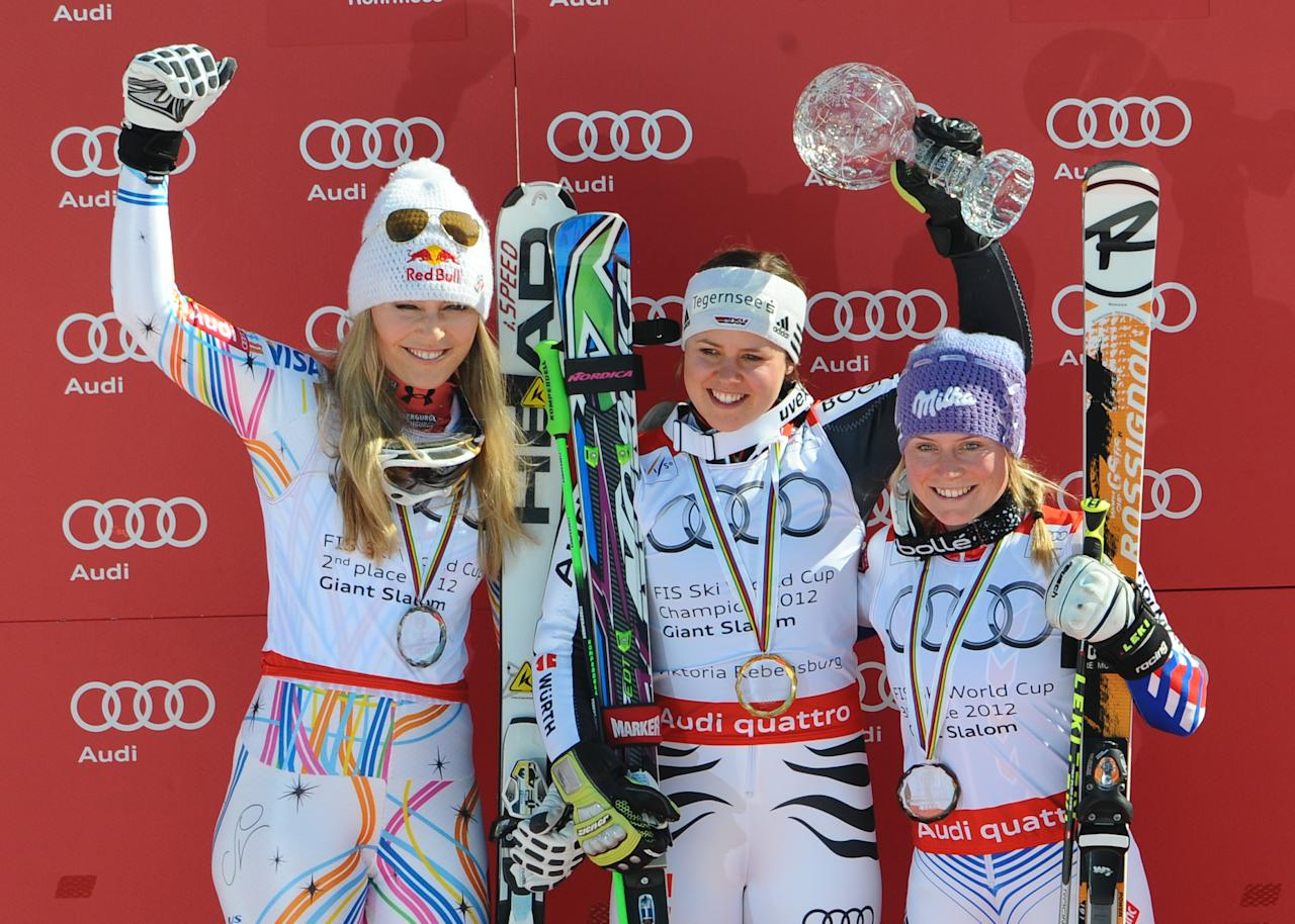 SCHLADMING, AUSTRIA - MARCH 18: (FRANCE OUT) Viktoria Rebensburg of Germany wins the last race and the Overall World Cup Giant Slalom title, Lindsey Vonn of the United States takes 2nd place, Tessa Worley of France takes 3rd place on March 18, 2012 in Schladming, Austria. (Photo by Alain Grosclaude/Agence Zoom/Getty Images)