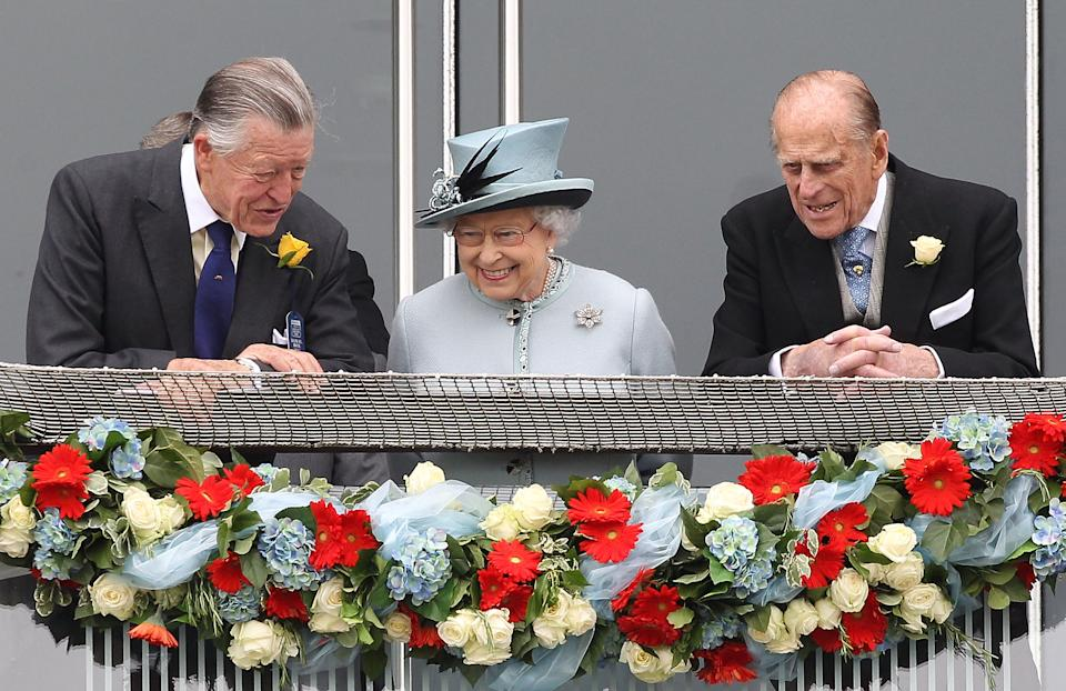 The Queen, Prince Philip. and Sir Michael Oswald at the races