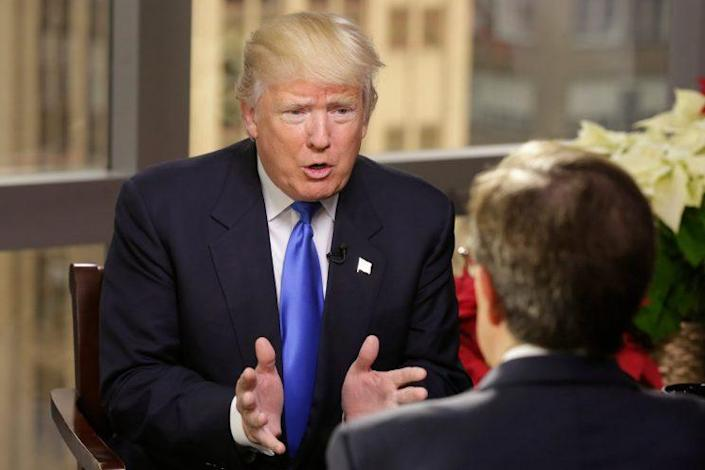 Trump speaks to Fox News' Chris Wallace in an interview that aired Sunday. (