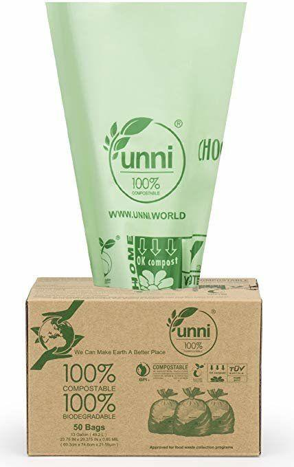 """These compostable bags are made entirely out of biodegradable materials. <strong><a href=""""https://www.amazon.com/gp/product/B013XRVNJS/ref=as_li_tl?thehuffingtop-20"""" target=""""_blank"""" rel=""""noopener noreferrer"""">Find them&nbsp;on for $16 on Amazon.</a></strong>"""