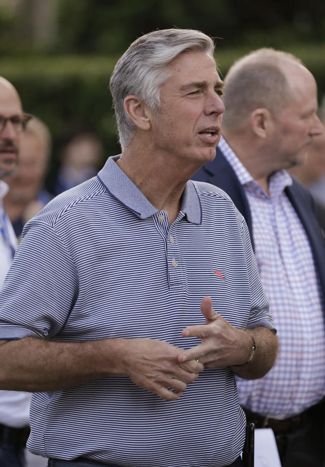Dave Dombrowski, president of baseball operations for the Boston Red Sox, talks with members of the media at the annual baseball general managers' meetings, Monday, Nov. 13, 2017, in Orlando, Fla. (AP Photo/John Raoux)