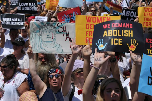 "<p>Hundreds of women march during a rally calling for ""an end to family detention"" and in opposition to the immigration policies of the Trump administration in Washington, D.C., June 28, 2018. (Photo: Jonathan Ernst/Reuters) </p>"