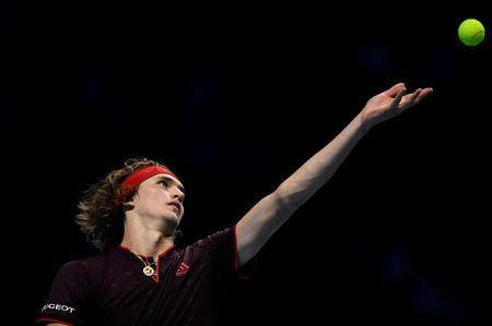 Tennis - ATP World Tour Finals - The O2 Arena, London, Britain - November 14, 2017 Germany's Alexander Zverev in action during his group stage match against Switzerland's Roger Federer Action Images via Reuters/Tony O'Brien