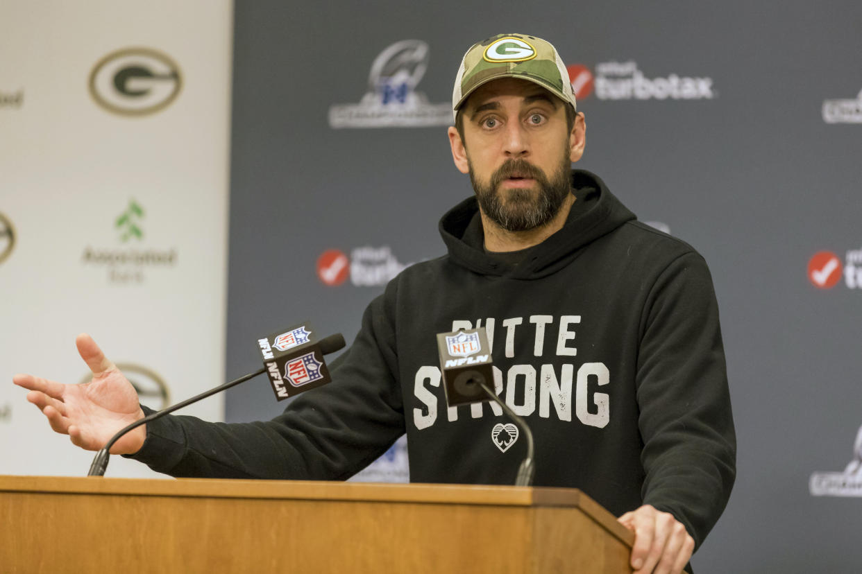 """Aaron Rodgers criticized the NFLPA on CBA negotiations for not """"critically looking at this."""" (AP Photo/Mike Roemer)"""