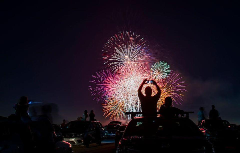 """<p><strong>Los Alamitos, California</strong></p><p>You'll enjoy the fireworks in Southern California during the Drive-Up 4th of July Spectacular at the <a href=""""https://cityoflosalamitos.org/recreation/events-facilities/events/4th-of-july/"""" rel=""""nofollow noopener"""" target=""""_blank"""" data-ylk=""""slk:Los Alamitos Joint Forces Training Base"""" class=""""link rapid-noclick-resp"""">Los Alamitos Joint Forces Training Base</a>.<br></p>"""