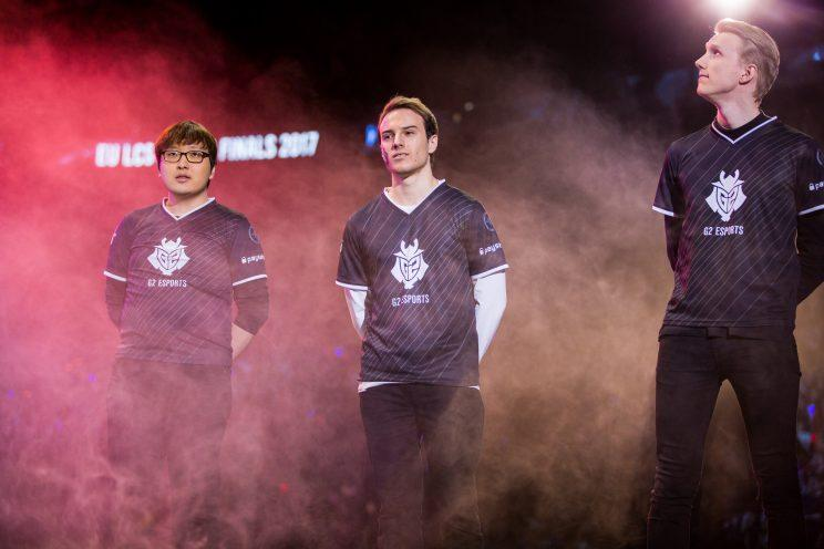 Trick, Perkz, and Zven at the 2017 EU LCS Spring final (loleposrts)