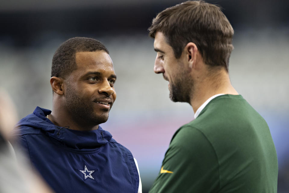 ARLINGTON, TX - OCTOBER 6:  Randall Cobb #18 of the Dallas Cowboys talks before the game with Aaron Rodgers #12 of the Green Bay Packers at AT&T Stadium on October 6, 2019 in Arlington, Texas.  The Packers defeated the Cowboys 34-24.  (Photo by Wesley Hitt/Getty Images)