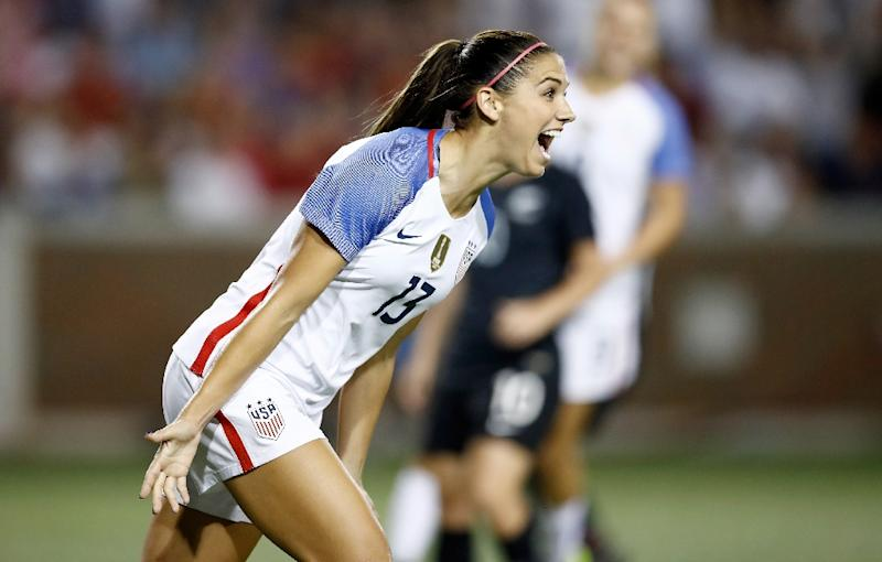 ba40c4874 Alex Morgan of the USA celebrates after scoring a goal in the second half  of the