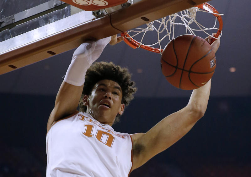 AUSTIN, TEXAS - MARCH 02: Jaxson Hayes #10 of the Texas Longhorns slam dunks against the Iowa State Cyclones at The Frank Erwin Center on March 02, 2019 in Austin, Texas. (Photo by Chris Covatta/Getty Images)