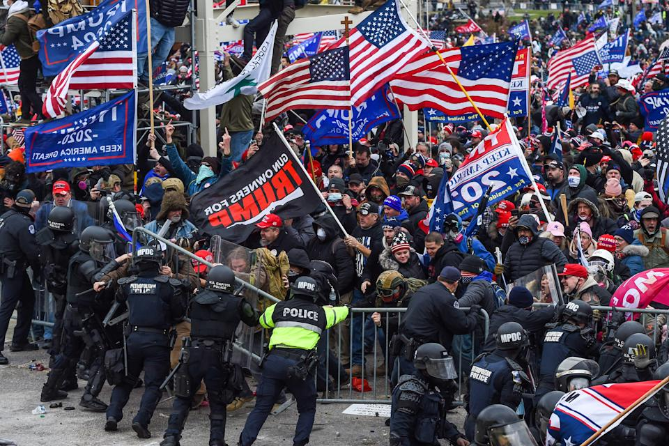 Trump supporters clash with police