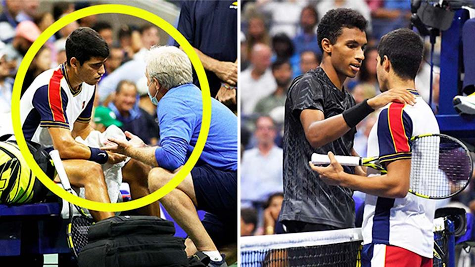 Teen Carlos Alcaraz (pictured left) getting treatment and (pictured right) being embraced by Felix Auger-Aliassime after retiring at the US Open.