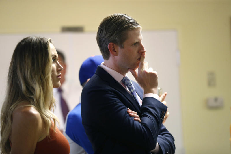 FILE - In this Aug. 18, 2016 file photo, President Donald Trump's son Eric Trump and his wife Lara Yunaska in Statesville, N.C. Eric announced on Twitter Monday, March 20, 2017,  that he and his wife Lara are expecting their first child. The baby boy is due in September. (AP Photo/Gerald Herbert, File)
