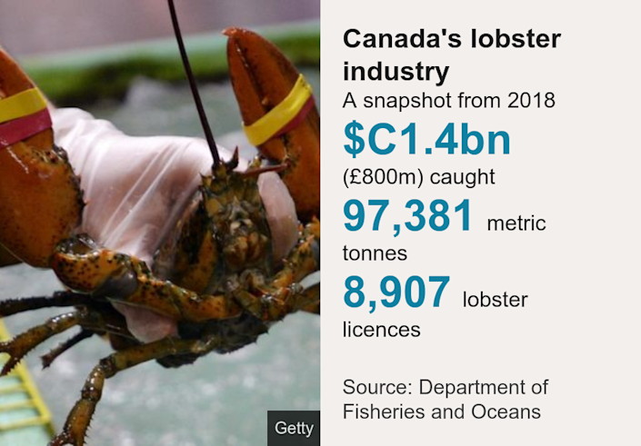 Canada's lobster industry. A snapshot from 2018 [ $C1.4bn (£800m) caught ],[ 97,381 metric tonnes ],[ 8,907 lobster licences ], Source: Source: Department of Fisheries and Oceans, Image: