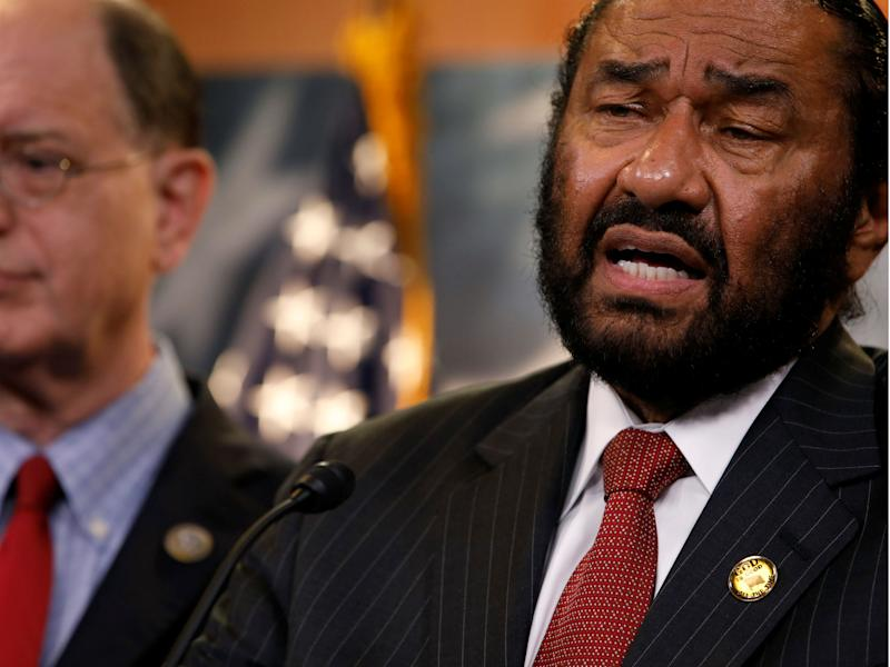 Al Green and Brad Sherman talk about plans draft articles of impeachment against Donald Trump in Washington, D.C. on June 7, 2017: REUTERS/Aaron P. Bernstein
