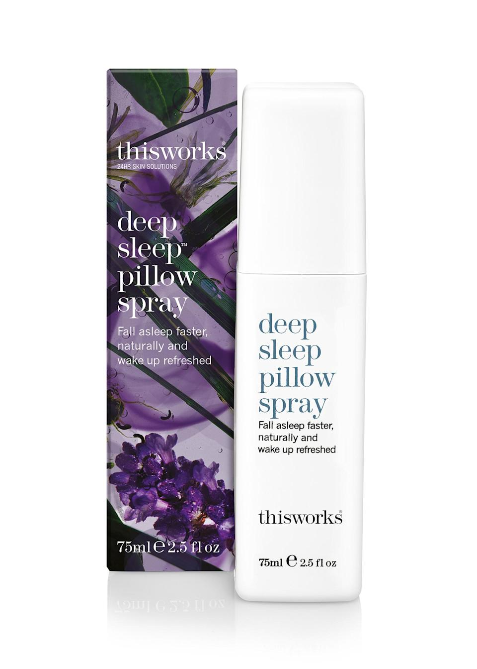 """<p>It's easy to see why this natural spray is a best selller. It's ideal for travel or simply whenever you need some help drifting off; the lavender, vetivert and camomile blend has been proven to calm both mind and body. <a href=""""https://www.boots.com/this-works-deep-sleep-pillow-spray-75ml-10134025"""" rel=""""nofollow noopener"""" target=""""_blank"""" data-ylk=""""slk:Buy here"""" class=""""link rapid-noclick-resp""""><em>Buy here</em></a>. </p>"""