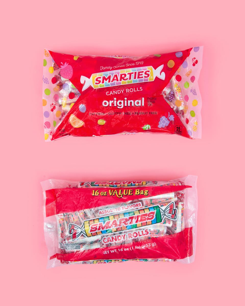 The updated Smarties logo and packaging (above) is not too different from the previous look (below).