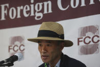 Lee Rae-jin, the older brother of a South Korean government official who recently killed by North Korean troops, speaks during a press conference at the Seoul Foreign Correspondent Club in Seoul, South Korea, Tuesday, Sept. 29, 2020. South Korea said Tuesday that a government official slain by North Korean sailors wanted to defect, concluding that the man, who had gambling debts, swam against unfavorable currents with the help of a life jacket and a floatation device and conveyed his intention of resettling in North Korea. (AP Photo/Ahn Young-joon)
