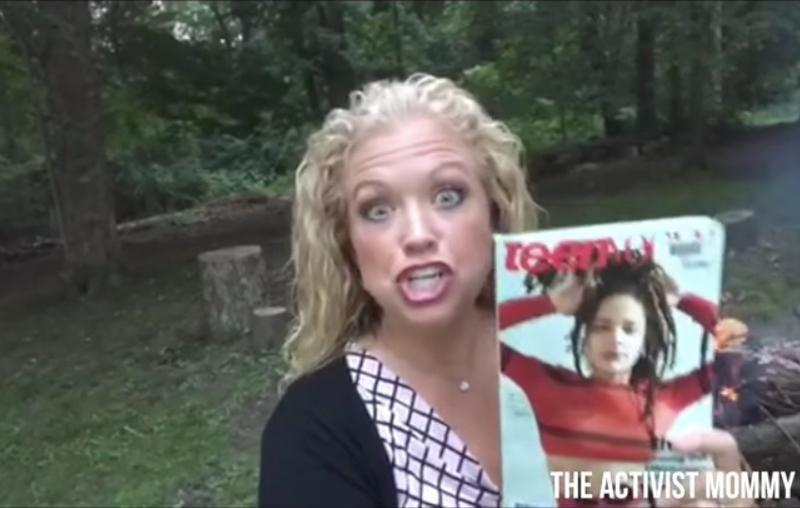 Many have slammed this mother on social media for burning Teen Vogue over a sex article. Source: YouTube / The Activist Mommy