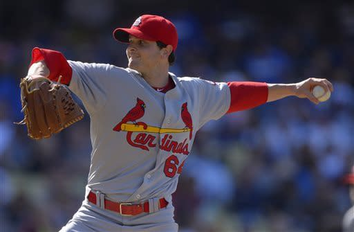 St. Louis Cardinals starting pitcher John Gast throws to the plate during the first inning of their baseball game against the Los Angeles Dodgers, Saturday, May 25, 2013, in Los Angeles. (AP Photo/Mark J. Terrill)